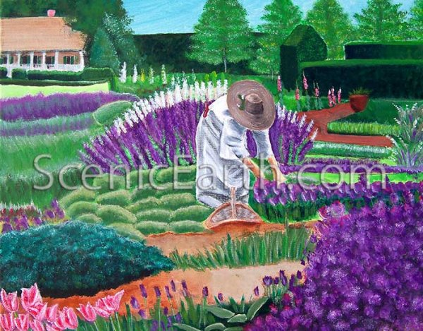 The Garden of Dreams - An original acrylic painting of a woman with a straw hat and white dress picking flowers to put in a basket while surrounded by a garden of lavender, flowers and grass